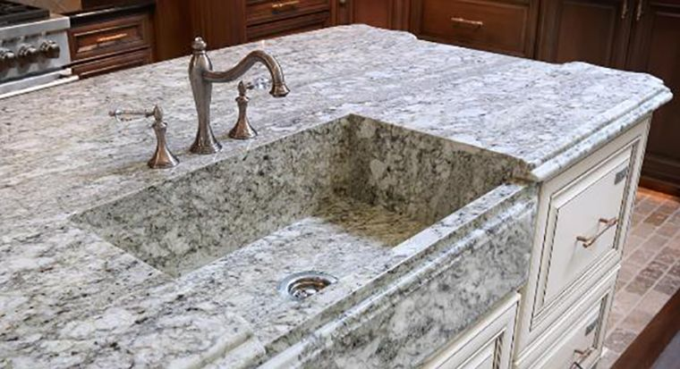 quartz countertop with customized integrated sink