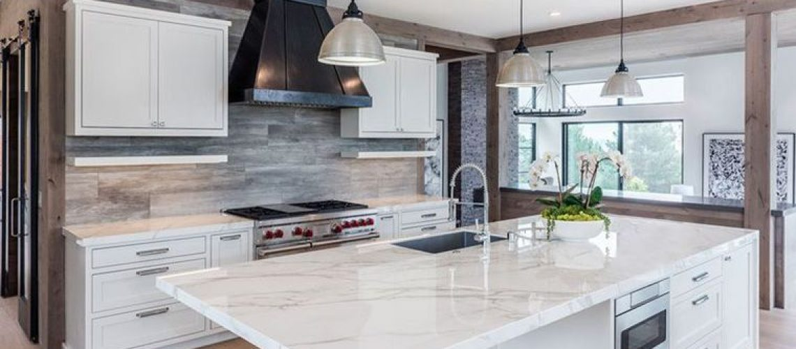 beautiful highly polished marble countertops